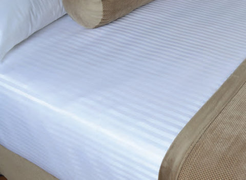 Wholesale Bed Sheets - White Stripe Top Sheets - 1