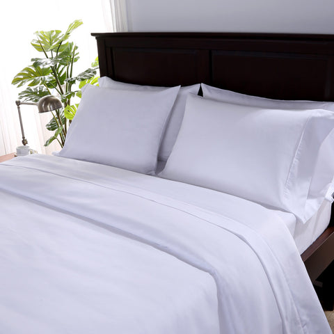 SuiteDream™ Ultra-Brushed Microfiber White Flat Sheets