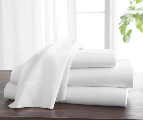 T310 White Pillow Case - Twill Weave with Piping