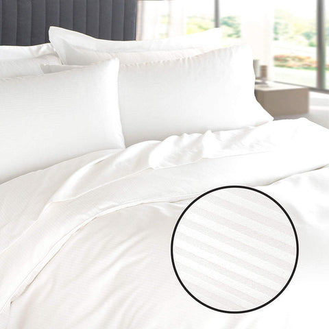 Duvet Cover T250 White Tone-on-Tone Pinstripe