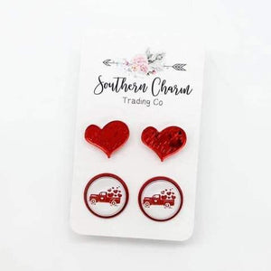 12mm Squiggly Red Heart & Truck Duo