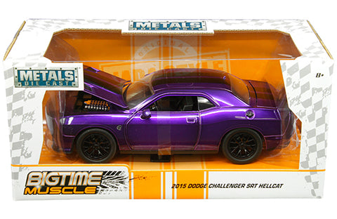 Jada 1:24 W/B - Metals - Bigtime Muscle - 2015 Dodge Challenger SRT Hellcat (Purple with black stripes) - Ferrara Market Inc.