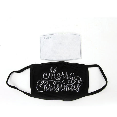 MERRY CHRISTMAS RHINESTONE CRYSTAL FACE MASK IN POLYESTER