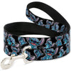 DOG LEASH - STITCH POSES/HIBISCUS SKETCH BLACK/GRAY/BLUE - Ferrara Market Inc.