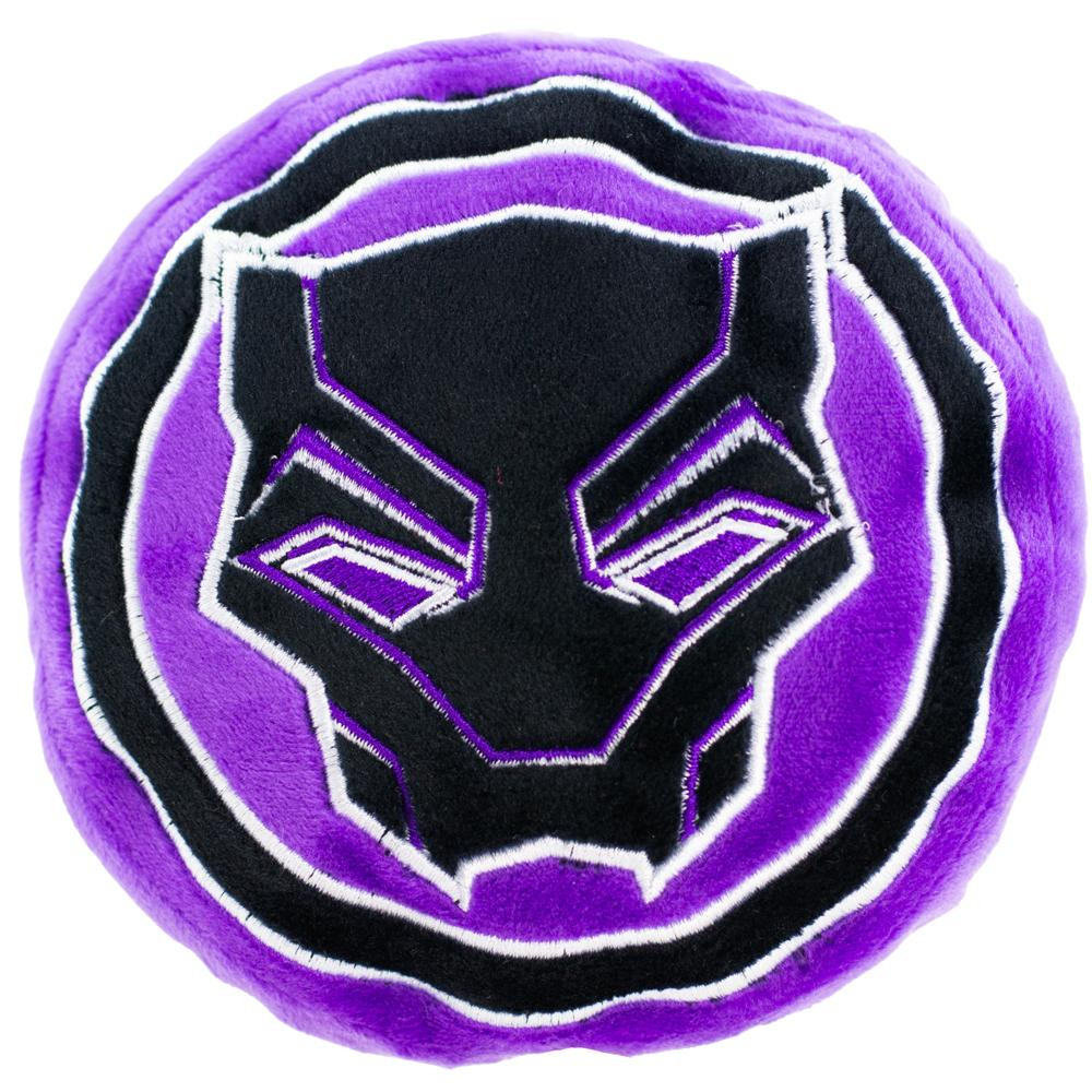 DOG TOY SQUEAKY PLUSH - BLACK PANTHER 2018 ICON BLACK/PURPLE - Ferrara Market Inc.
