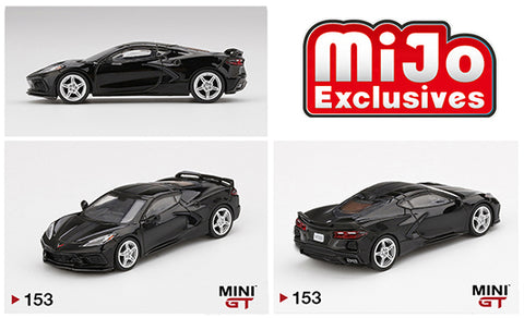 Mini GT 1:64 MiJo Exclusives - 2020 Chevrolet Corvette Stingray - Black w/ Midnight Grey Stripe LHD