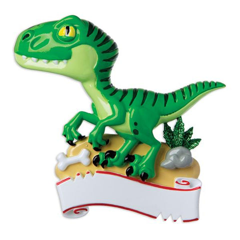 OR1907 - Green Dinosaur Personalized Christmas Ornament