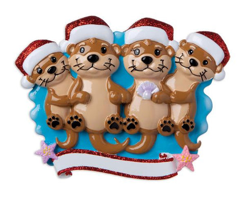 OR1914-4 - Otter Family of 4 Personalized Christmas Ornament