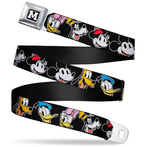 "MICKEY MOUSE ""M"" LOGO FULL COLOR BLACK/WHITE SEATBELT BELT - DISNEY THE SENSATIONAL SIX SMILING FACES BLACK WEBBING - Ferrara Market Inc."