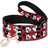 DOG LEASH - MICKEY MOUSE EXPRESSIONS RED/BLACK/WHITE 4FT - Ferrara Market Inc.
