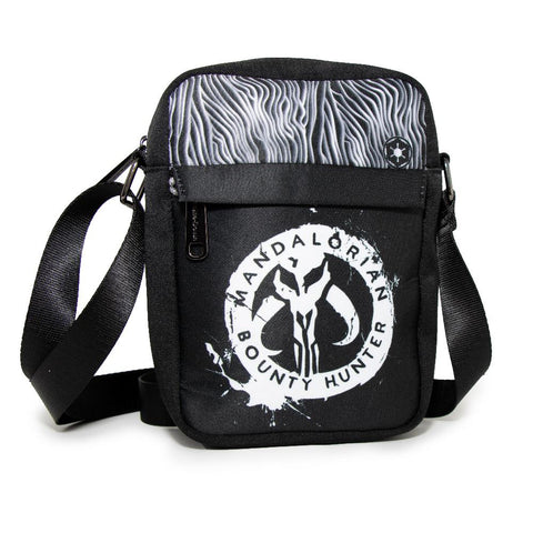 WOMEN'S CROSSBODY WALLET - STAR WARS THE MANDALORIAN BOUNTY HUNTER KYR'BES ICON BESKAR ARMOR BOUNDING BLACK WHITE