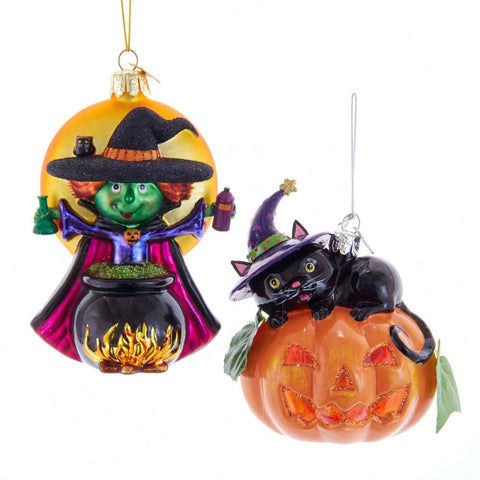 Noble Gems™ Witch and Pumpkin Glass Ornaments, 2 Assorted