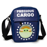 WOMEN'S CROSSBODY WALLET - THE CHILD PRECIOUS CARGO CARRIAGE POD POSE STARS BLUE WHITE