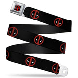 MARVEL DEADPOOL DEADPOOL LOGO FULL COLOR BLACK RED WHITE SEATBELT BELT - DEADPOOL LOGO BLACK/RED/WHITE WEBBING - Ferrara Market Inc.
