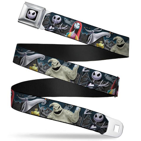 JACK EXPRESSION6 FULL COLOR SEATBELT BELT - NIGHTMARE BEFORE CHRISTMAS 4-CHARACTER GROUP/CEMETERY SCENE WEBBING - Ferrara Market Inc.