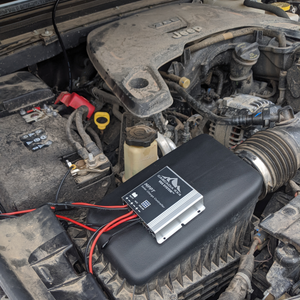 cascadia 4x4 MPPT charge controller mounted in engine bay of jeep JL