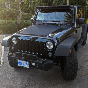 Cascadia 4x4 vss system hood solar panel for overland travel mounted on jeep wrangler JK