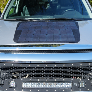 solar panel mounted on hood cascadia 4x4