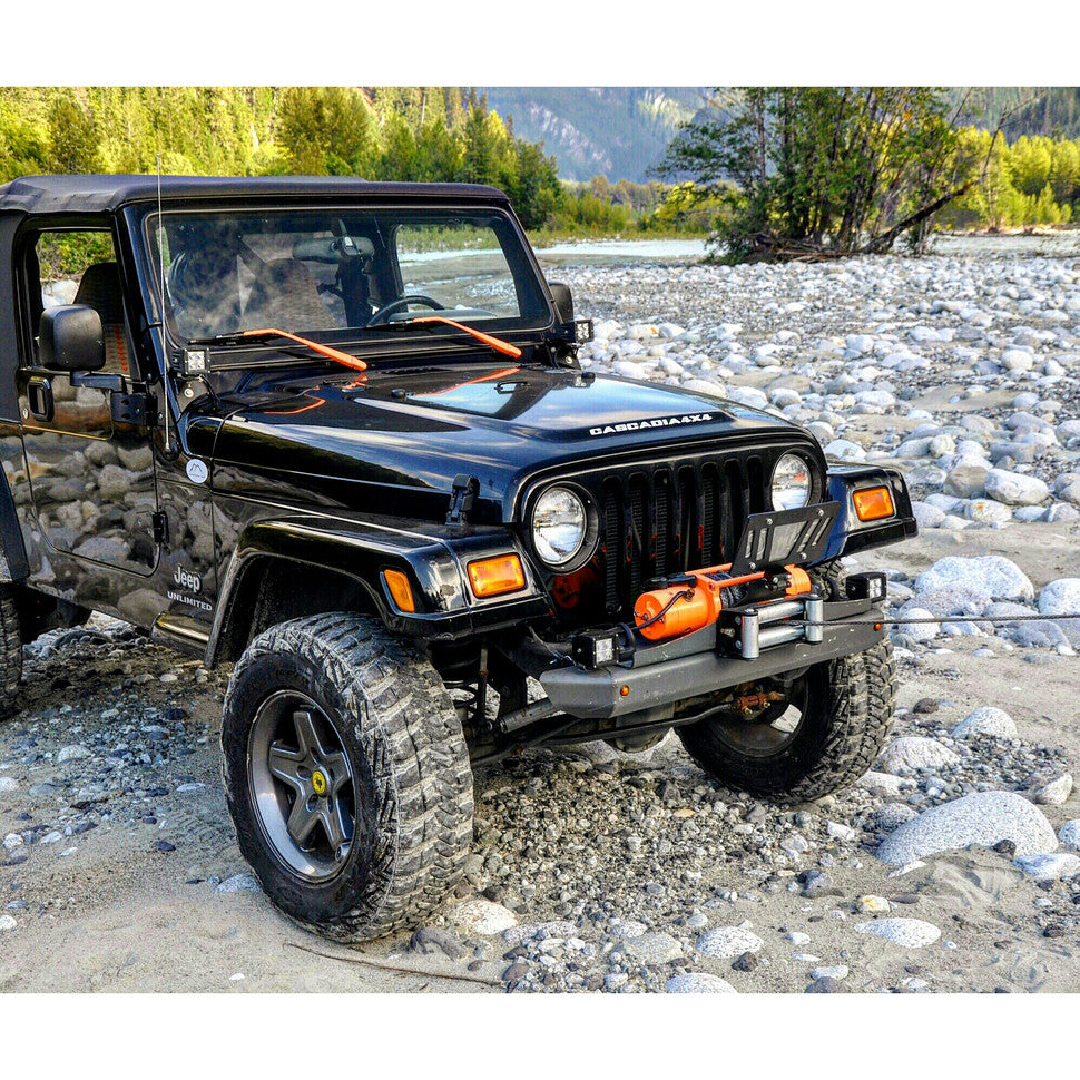 blackops 4x4 jeep wrangler unlimited with cascadia 4x4 flipster winch license plate mount