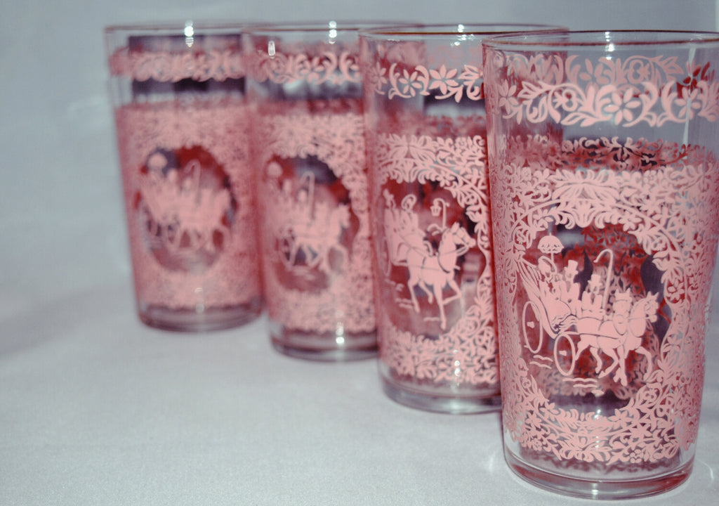 Vintage glass tumblers-pink carriage print