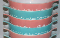 Vintage Pyrex Gooseberry Pink and Aqua Butterprint Casseroles