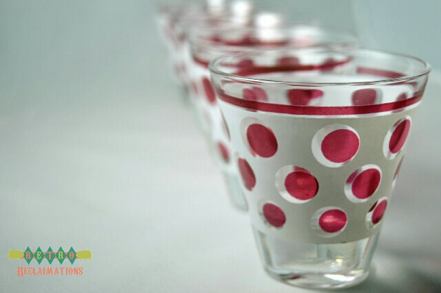 Vintage shot glasses frosted red dots