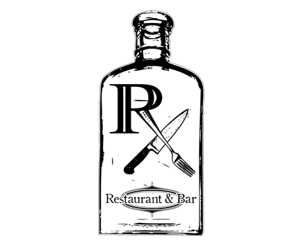 RX Restaurant and Bar logo vintage cocktails