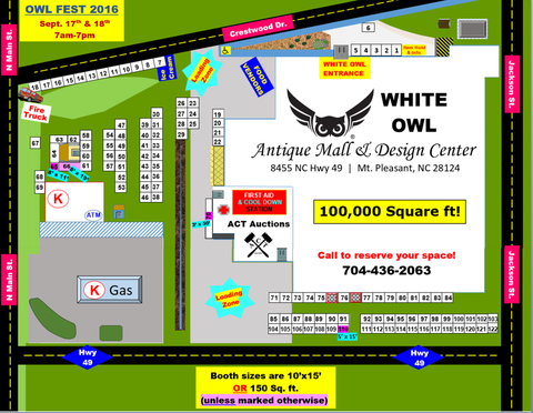 Owl Fest Antique Festival map-Vendor layout