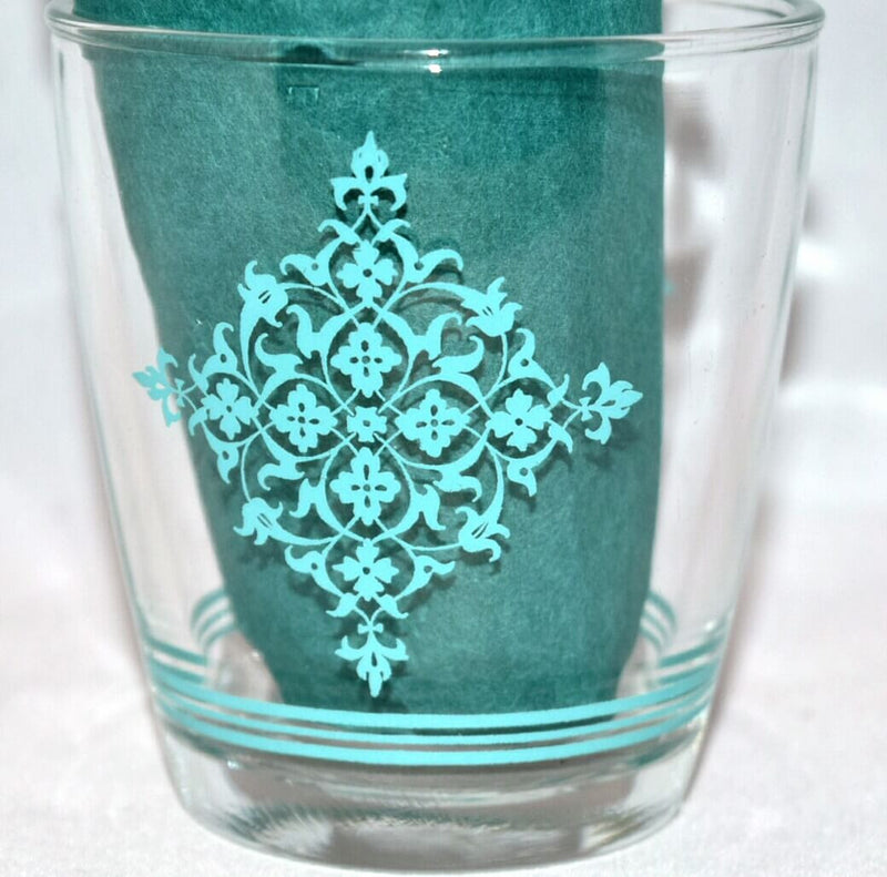 Vintage Glassware-Sour Cream-Hazel Atlas-Lace Medallion-Turquoise - Retro Reclaimations