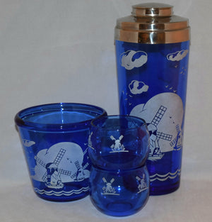 Vintage Barware-Hazel Atlas-Cobalt Blue-Dutch-Windmill-Cocktail Set