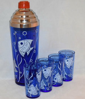 Vintage Barware-Hazel Atlas-Cobalt Blue-Cocktail Set-Fish
