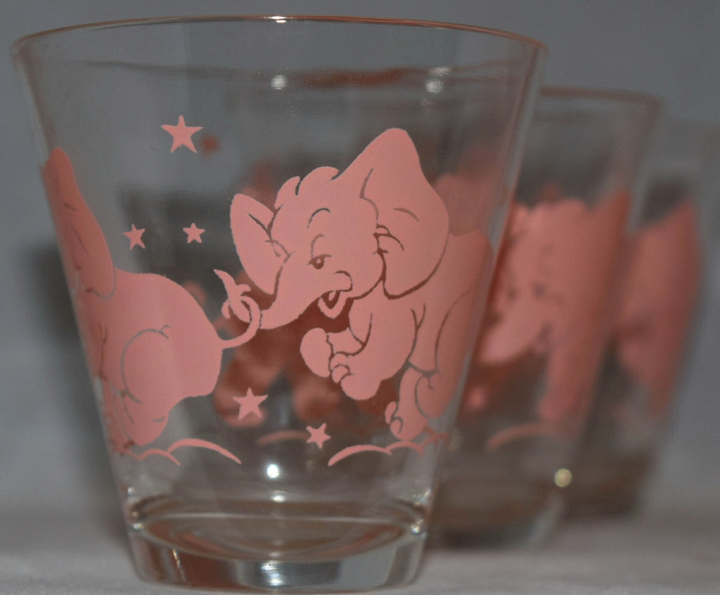 Vintage Barware-Hazel Atlas-Pink Elephant-Rocks-Lowball-Set of 6
