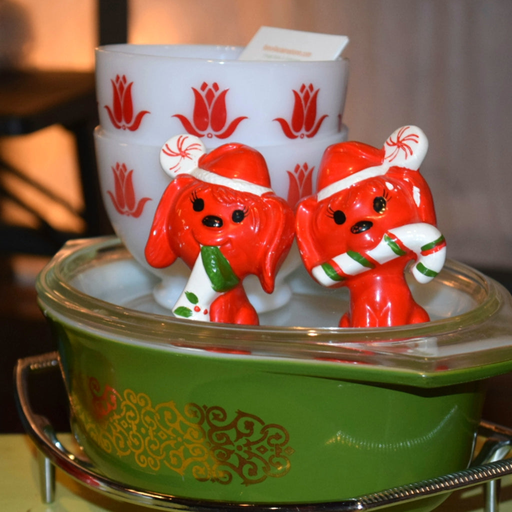 Vintage Holiday-Salt and Pepper Shakers-Red Puppies-Japan