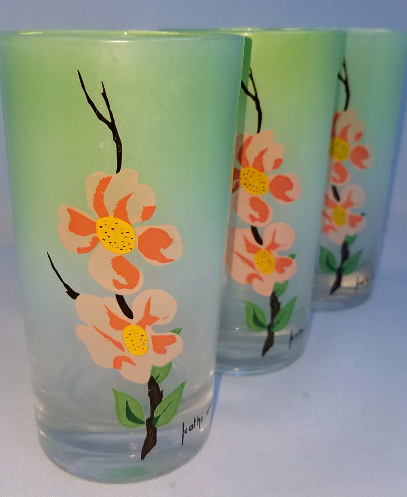 Vintage Barware highball Kathi Urbach Dogwood Frosted