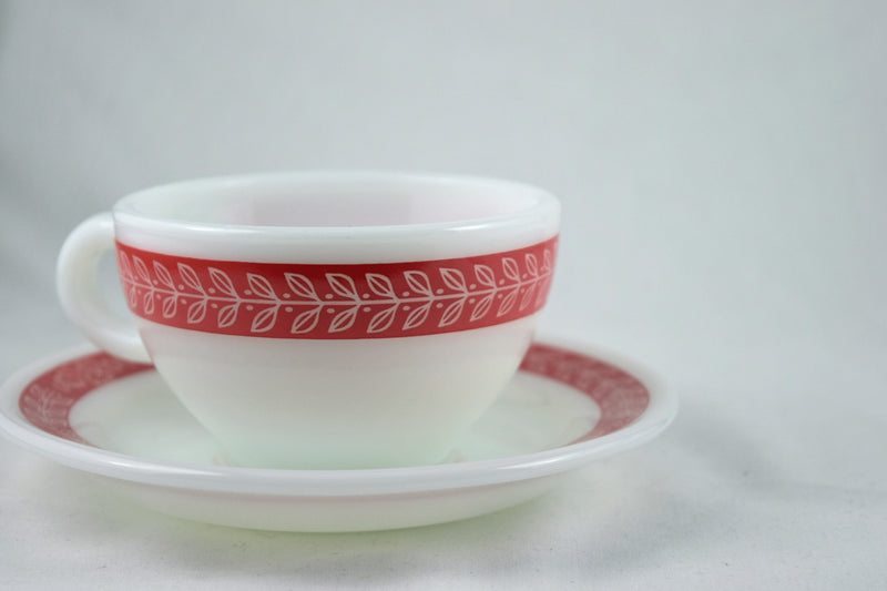 Vintage Glassware-Pyrex-Coffee Mug-Saucer-Set-Laurel Leaf-Red-(1 set) - Retro Reclaimations - 1