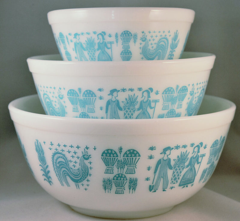 Vintage Glassware-Mixing-Nesting-Bowl-Vintage Pyrex-Butterprint-set of 3-1957 - Retro Reclaimations - 1