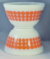 Vintage Glassware-Pyrex-Mixing-Nesting-Bowl-Orange Dot - Retro Reclaimations - 1
