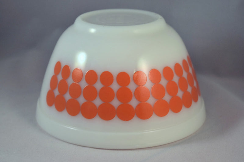Vintage Glassware-Pyrex-Mixing-Nesting-Bowl-Orange Dot - Retro Reclaimations - 4