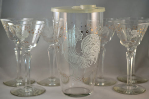 Vintage Barware-Libbey-Chanticleer-Rooster-7 pc. Cocktail Set-1956 - Retro Reclaimations - 2