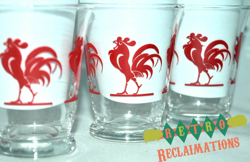 Vintage Barware-Cocktail Tumblers-Rooster - Retro Reclaimations - 1