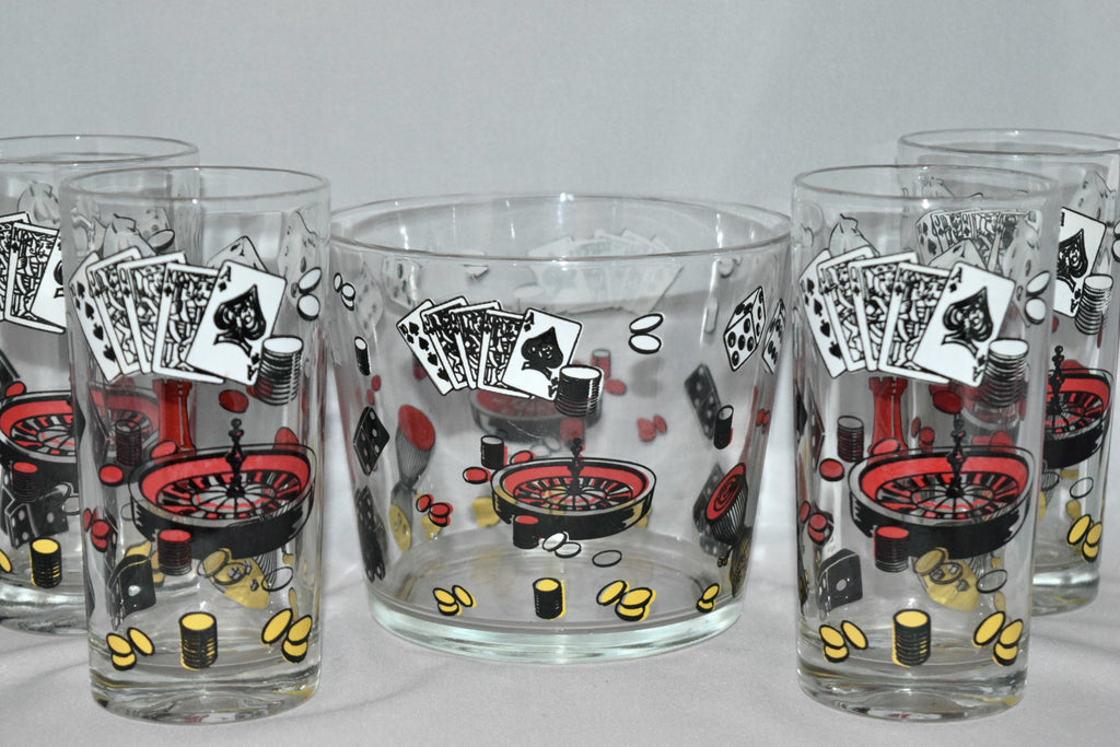 Vintage Barware-Hazel Atlas-Ice Bowl-Tumblers-Casino - Retro Reclaimations - 1