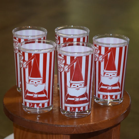 Vintage Glassware-Holiday-Santa-Tumblers-Bartlett Collins Glassware-Atomic-Red Stripes