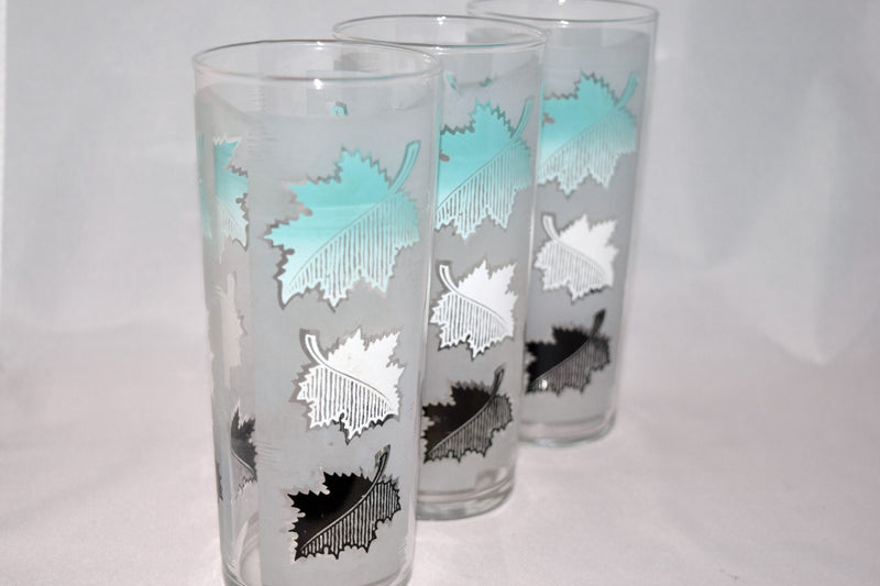 Vintage Barware-Libbey Glassware-aqua-frosted-leaves - Retro Reclaimations - 2