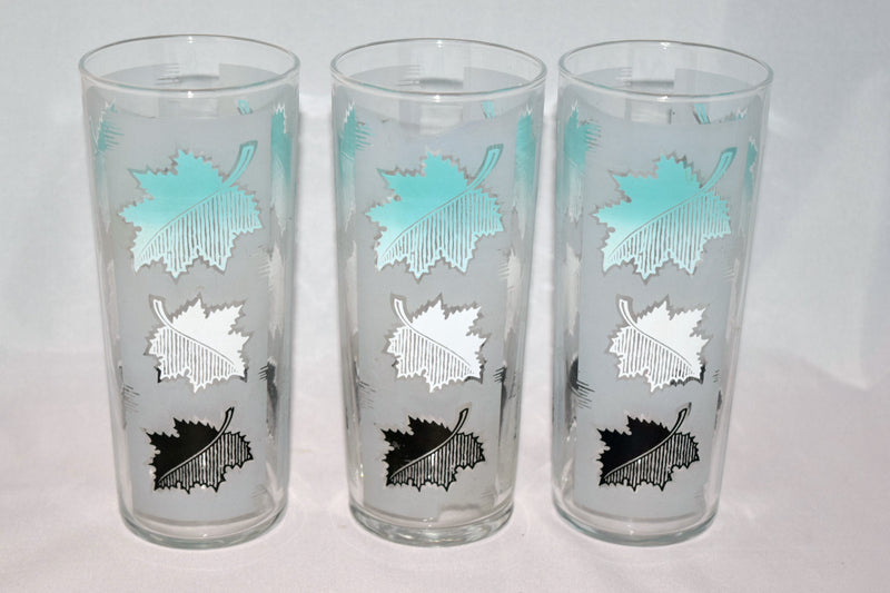 Vintage Barware-Libbey Glassware-aqua-frosted-leaves - Retro Reclaimations - 1