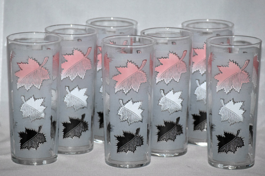 Vintage Barware-Libbey Glassware-Pink-Frosted-Leaves - Retro Reclaimations - 1