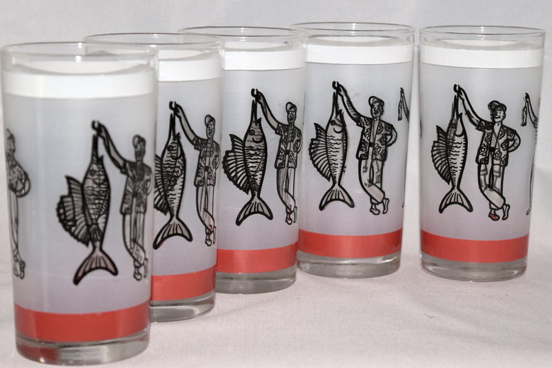 Vintage Barware-Libbey-1950s-Fishermen-Fish Story-Highball - Retro Reclaimations - 1