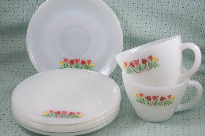 Fire King Premium Tulips Cup & Saucer Set - Retro Reclaimations - 2