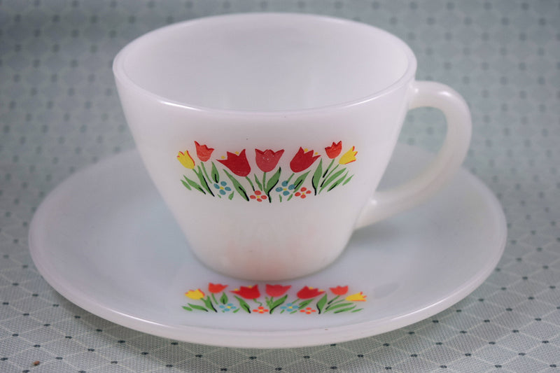 Fire King Premium Tulips Cup & Saucer Set - Retro Reclaimations - 3