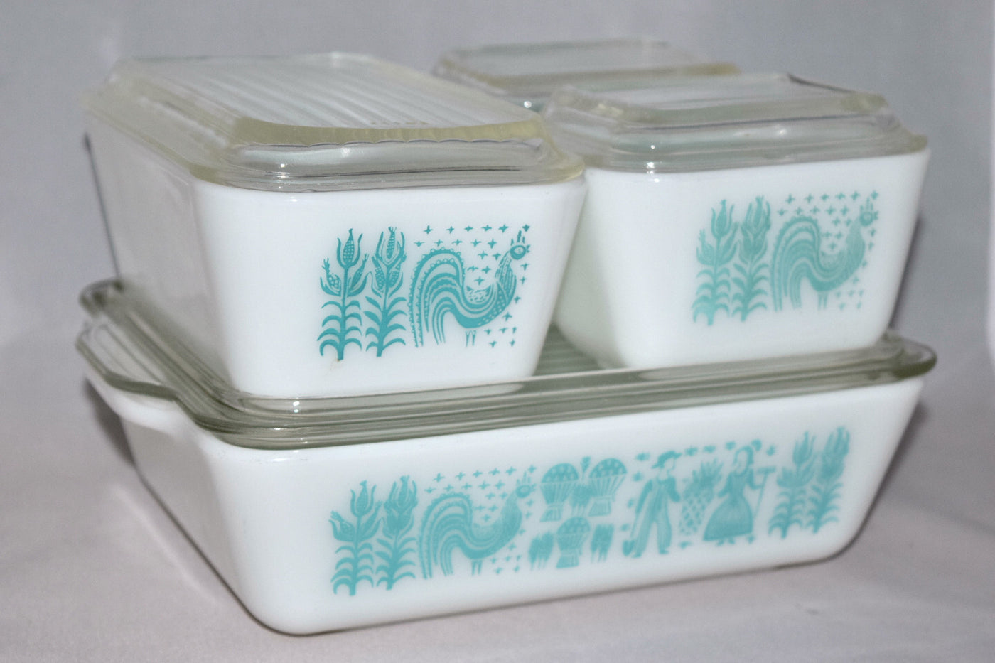 Vintage Glassware Refrigerator Dishes Turquoise Pyrex Butterprint