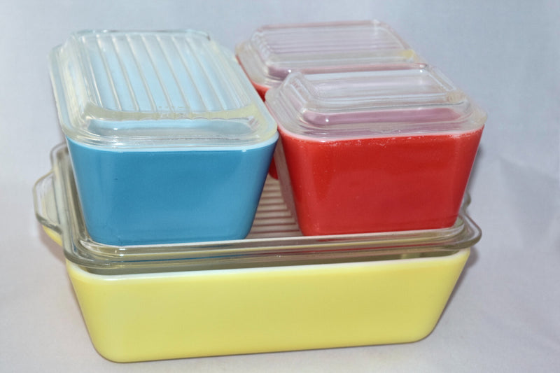 Vintage Glassware-Refrigerator Dishes-Pyrex-Primary Colors - Retro Reclaimations - 3